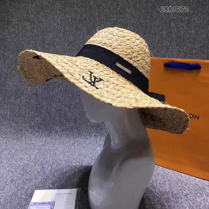 全球资讯_lv帽子 大帽檐拉菲绣字草帽_LV_世纪奢品